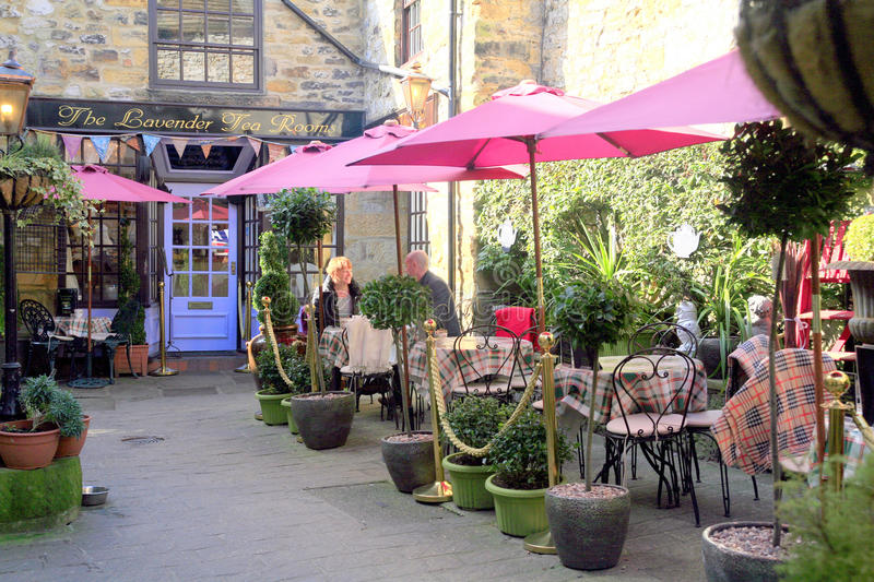 The Lavender Tea Rooms. The Lavender tea rooms with alfresco dining in a courtyard at Bakewell, Derbyshire, England, UK royalty free stock photos