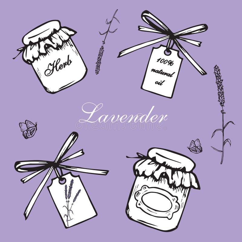Lavender vintage set. Vintage hand drawn lavender vector illustration on violet background. Engraving illustration. Collection of vintage bottles, lavender vector illustration