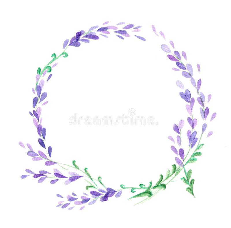Lavender Watercolor στεφάνι ελεύθερη απεικόνιση δικαιώματος