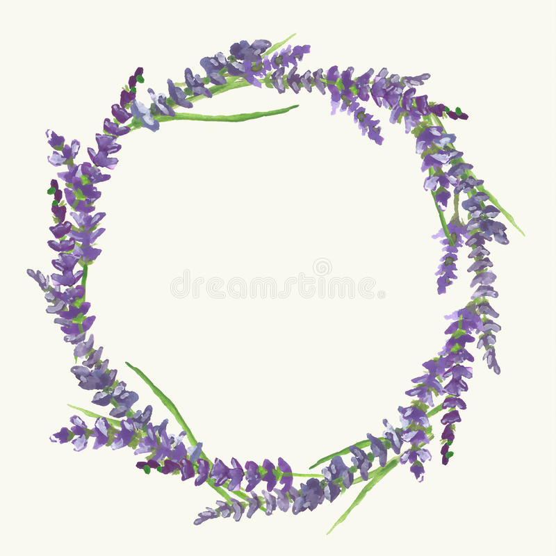 Lavender wreath, watercolor painting, illustration. Lavender wreath on beige background in Provence style, watercolor painting, vector illustration, eps 10 stock illustration