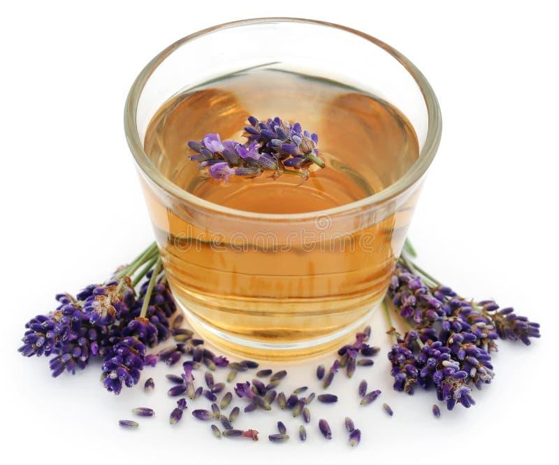 Lavenderthee met bloem stock afbeelding