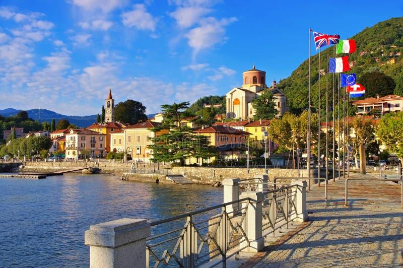 Laveno on lake Lago Maggiore. In northern Italy stock photos