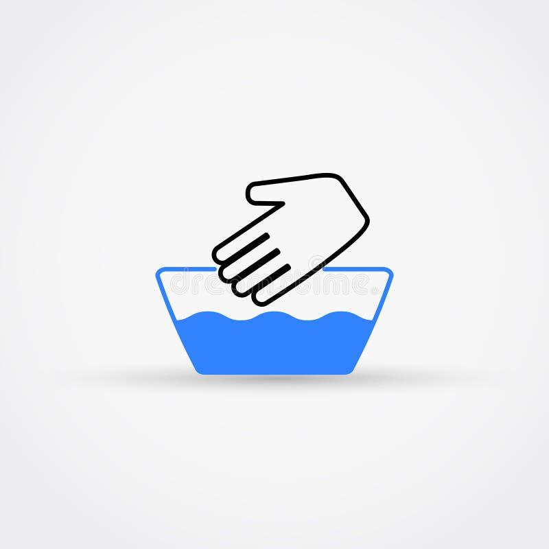Lavent à la main l'icône de vecteur Pas symbole lavable de machine illustration stock