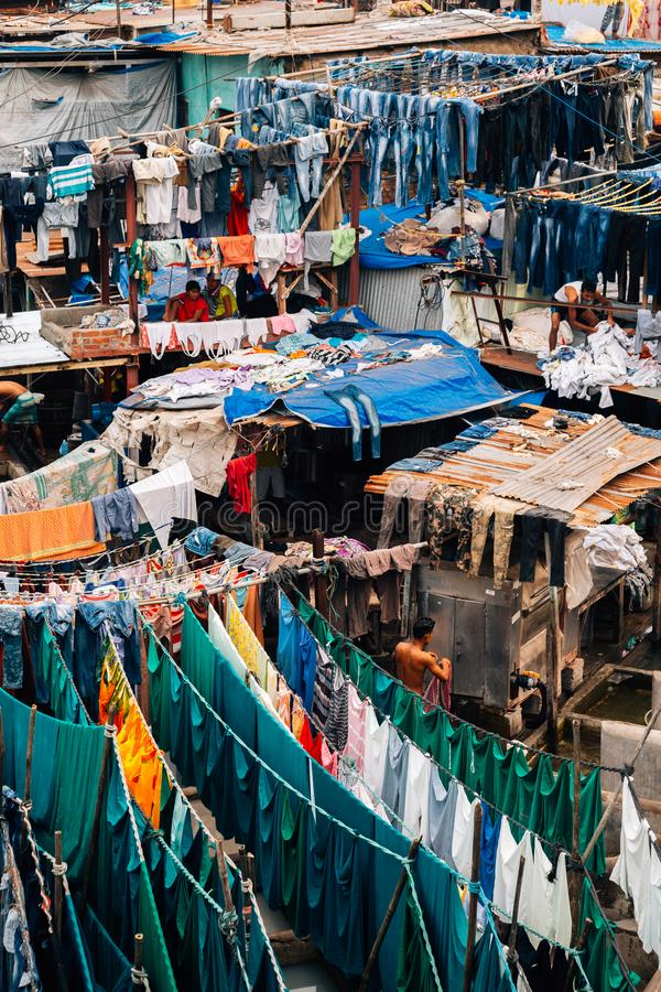 Laverie automatique d'air ouvert de ghat de Dhobi dans Mumbai, Inde photos libres de droits