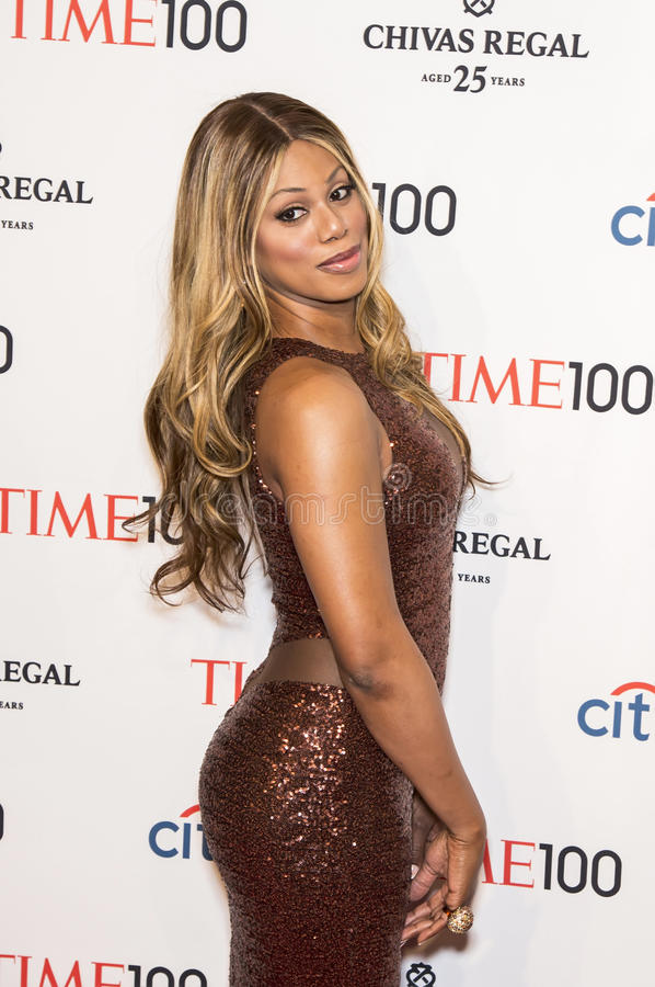 Laverne Cox. Activist/actress/Artist Laverne Cox arrives on the red carpet for the Time 100 Most Influential People in the World Gala at the Frederick P. Rose royalty free stock photos