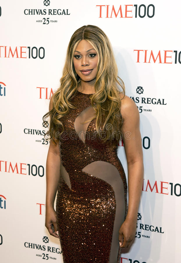 Laverne Cox. Supporter of transgender people's rights, Laverne Cox, arrives on the red carpet for the Time 100 Most Influential People in the World Gala at the royalty free stock photos