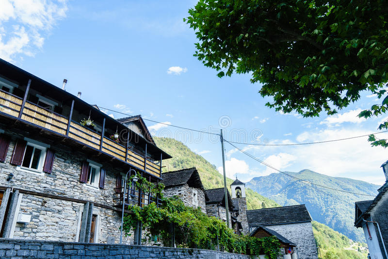 Lavertezzo, Verzasca谷,提契诺州,瑞士 免版税库存照片