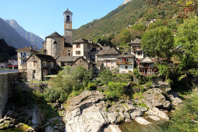 Lavertezzo, Verzasca谷,瑞士 免版税图库摄影