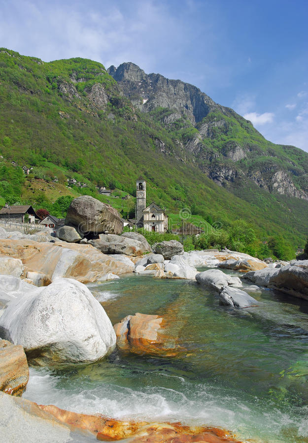 Lavertezzo, Verzasca Vallei, Ticino stock foto