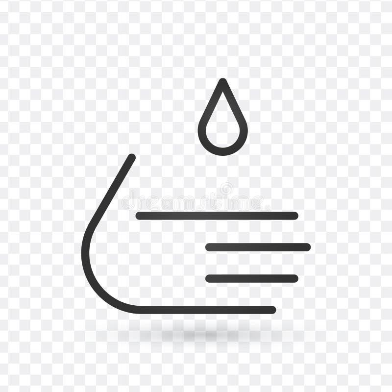 Lavez la canne à pêche icône, signe d'ensemble, pictogramme linéaire de style d'isolement sur le blanc Course Editable illustration de vecteur