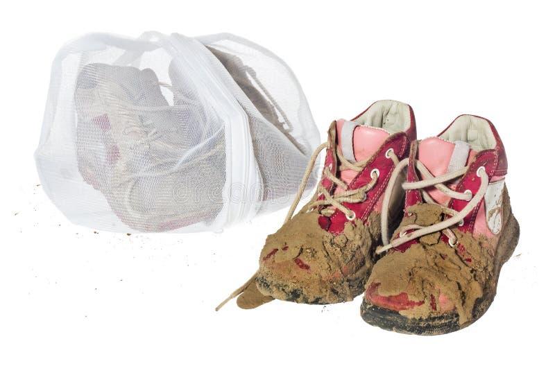 Lavez le sac pour les vêtements sensibles, chaussures, sous-vêtements, soutien-gorge Une blanchisserie image libre de droits