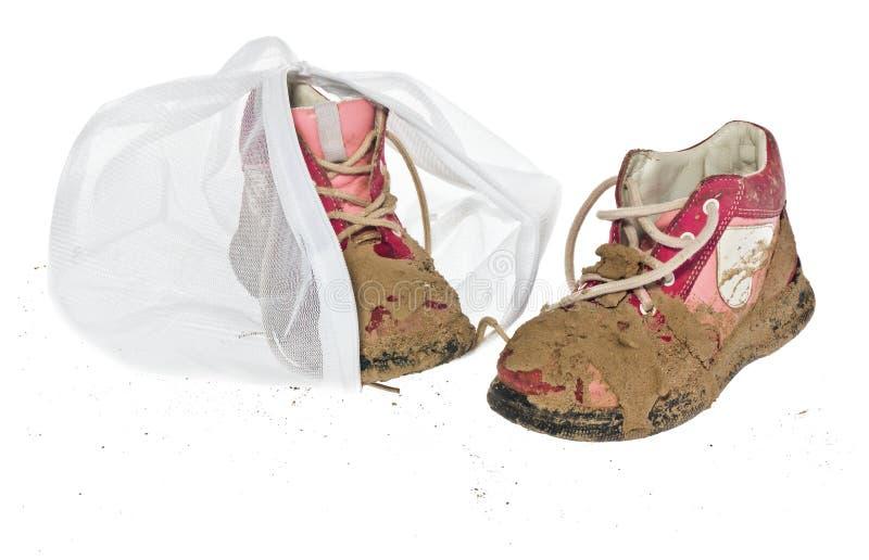 Lavez le sac pour les vêtements sensibles, chaussures, sous-vêtements, soutien-gorge Une blanchisserie images libres de droits