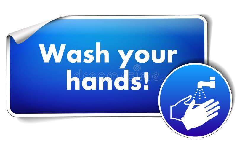 Lavi le vostre mani firmano l'autoadesivo con il segno obbligatorio isolato su fondo bianco illustrazione vettoriale