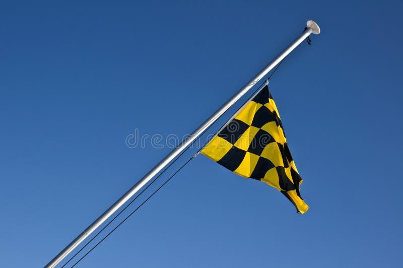 Lavinfaraguling och svart rutig flagga royaltyfri bild
