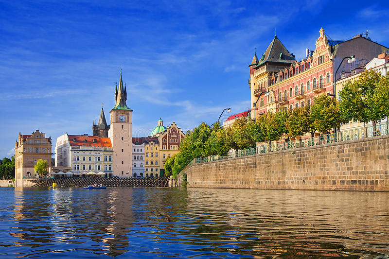 Lavka and Bedrich smetana museum in Prague. Charles Bridge club Lavka and Bedrich smetana museum in Prague, Czech Republic stock photo