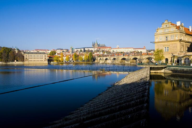 Lavka, Prague Castle with Charles bridge, Prague, Czech Republic royalty free stock photos