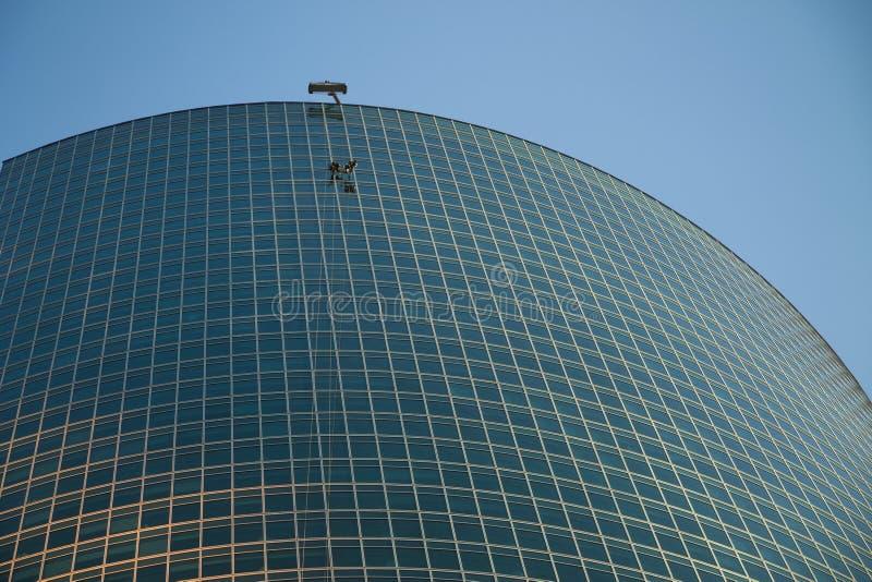 Lavorando al centro di affari ad alta altitudine della torre a Mosca immagine stock libera da diritti