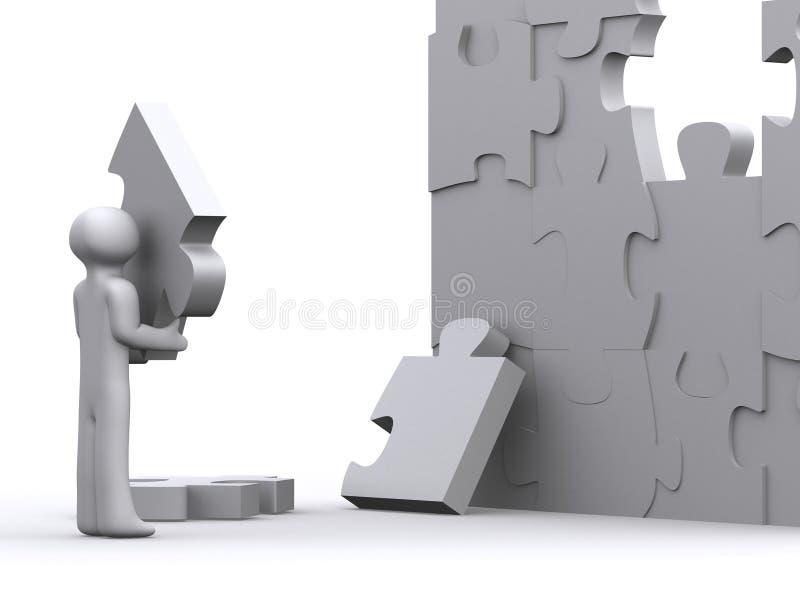 Lavorando al puzzle illustrazione vettoriale