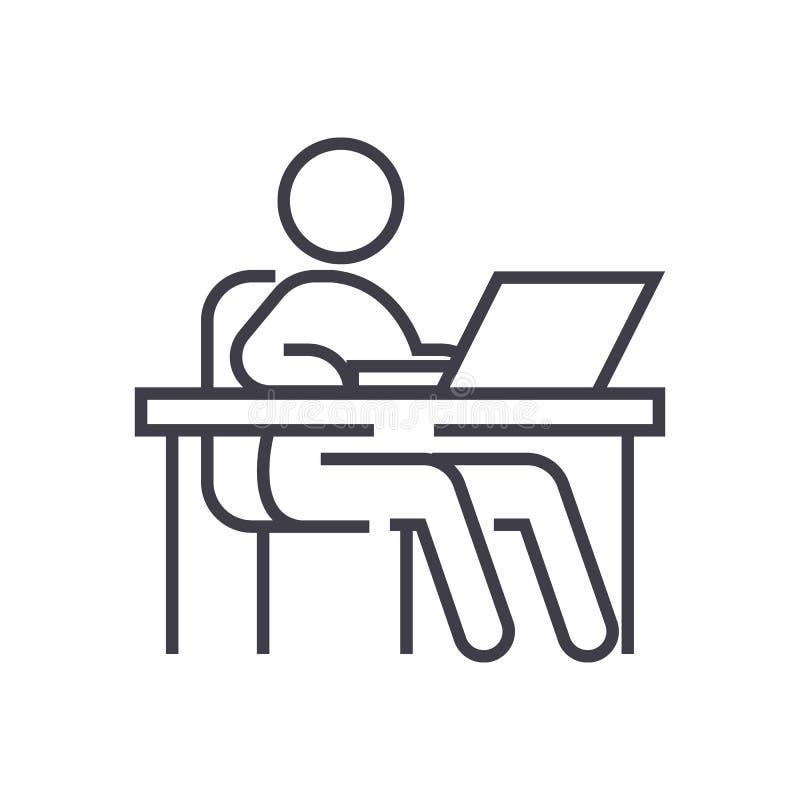 Lavorando alla tavola, posto di lavoro, linea icona, segno, illustrazione di vettore della gestione su fondo, colpi editabili royalty illustrazione gratis