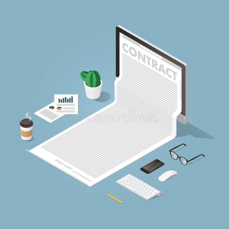 Lavorando con l'illustrazione di concetto dei documenti illustrazione vettoriale