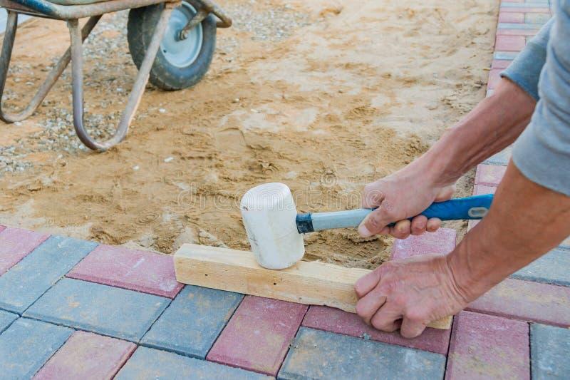 Lavoratore che pone i blocchi di pavimentazione di calcestruzzo rossi e grigi Strada che pavimenta, costruzione immagini stock libere da diritti