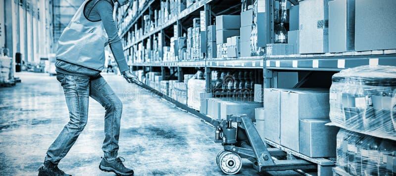 Lavoratore che spinge carrello con le scatole fotografia stock libera da diritti
