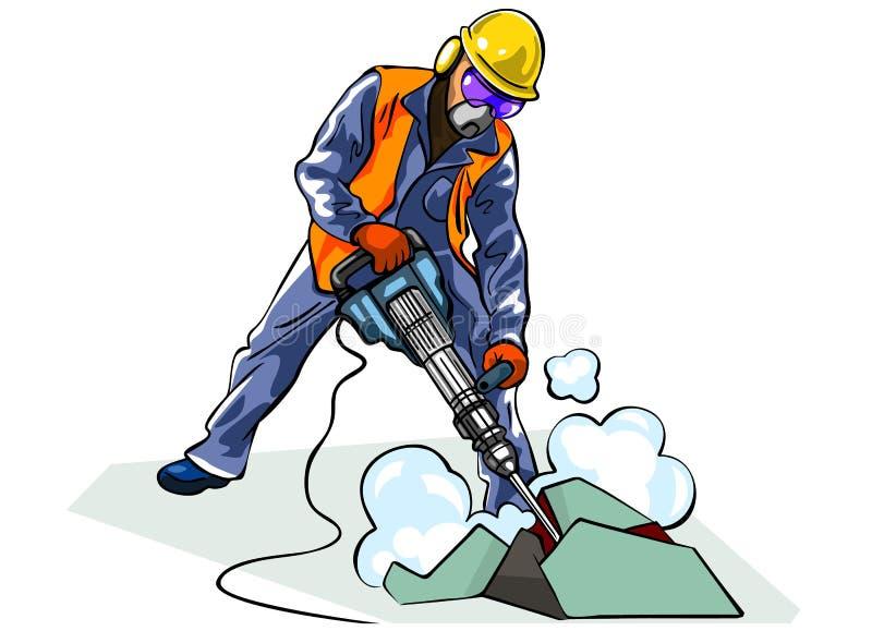 Lavoratore con il martello pneumatico immagine stock libera da diritti