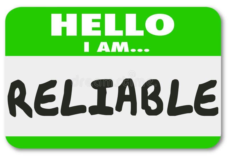 Lavoratore credibile Team Member Person di nome dell'autoadesivo affidabile dell'etichetta illustrazione di stock