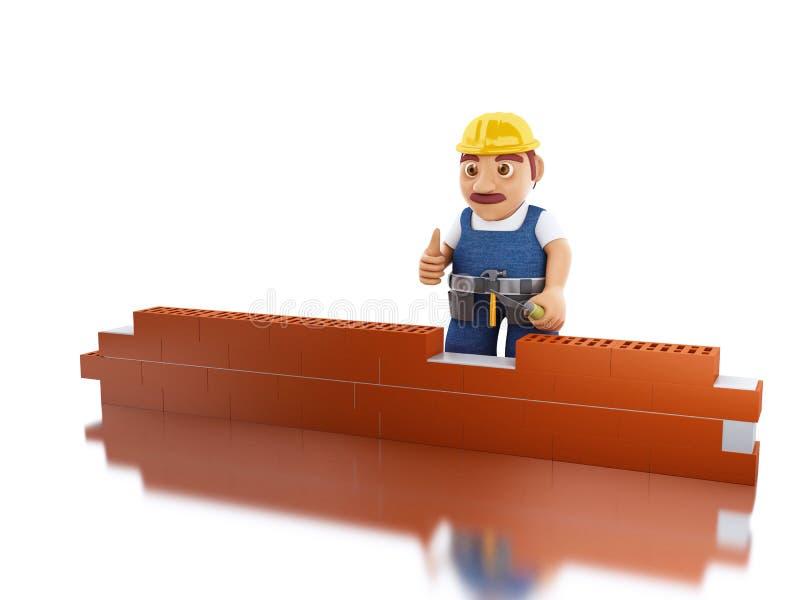 lavoratore 3d con un muro di mattoni della costruzione della cazzuola royalty illustrazione gratis