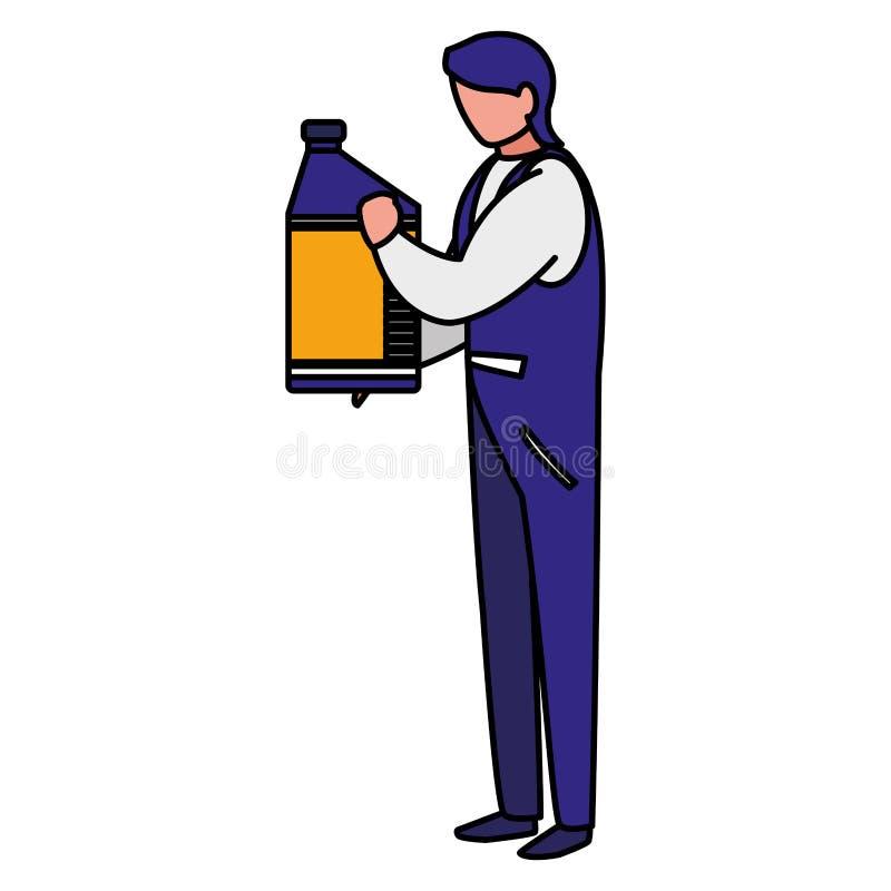 Lavoratore del meccanico con il gallone dell'olio illustrazione di stock