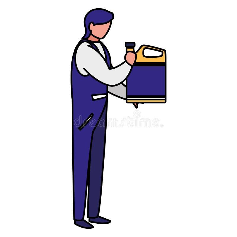 Lavoratore del meccanico con il gallone dell'olio illustrazione vettoriale