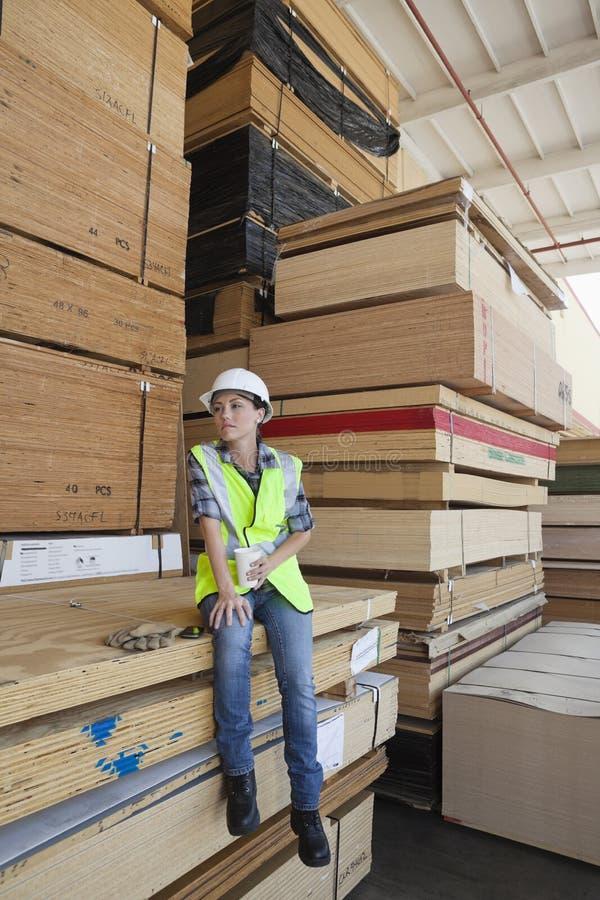 Lavoratore dell'industria femminile che mangia caffè mentre sedendosi sulla pila di plance di legno fotografia stock libera da diritti