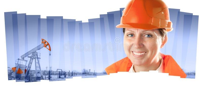 Lavoratore dell'industria femminile in un giacimento di petrolio Composizione nel collage fotografie stock