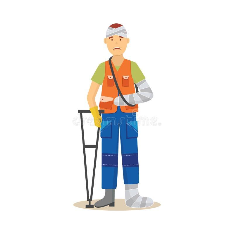 Lavoratore dell'uomo in uniforme con l'illustrazione di vettore di lesione del corpo isolata su bianco illustrazione vettoriale