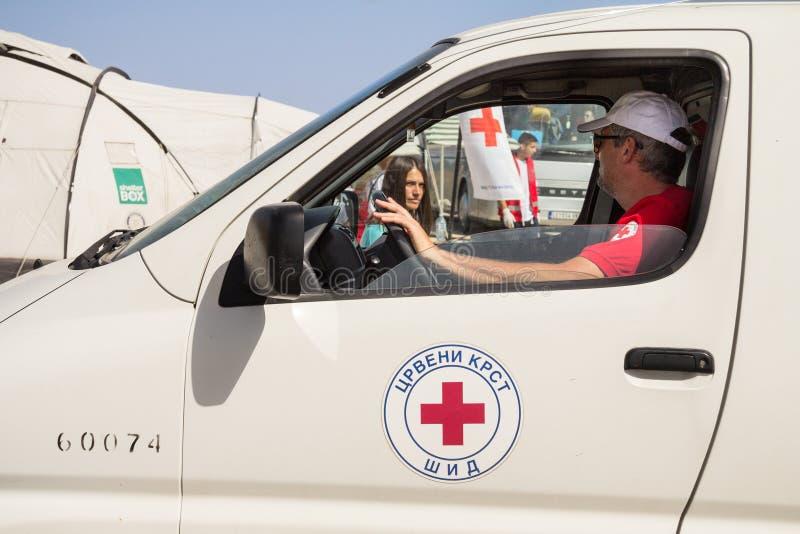 Lavoratore della croce rossa della Serbia Crveni Krst Srbije che conduce un camion al confine fra la Serbia e la Croazia immagini stock