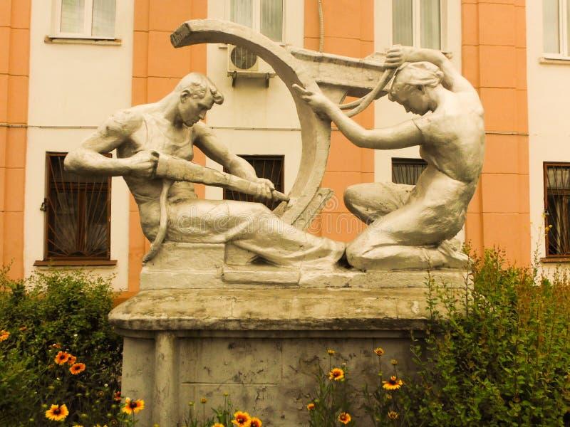 """Lavoratore della scultura e †di lavoro """"Stakhanovtsy immagini stock libere da diritti"""