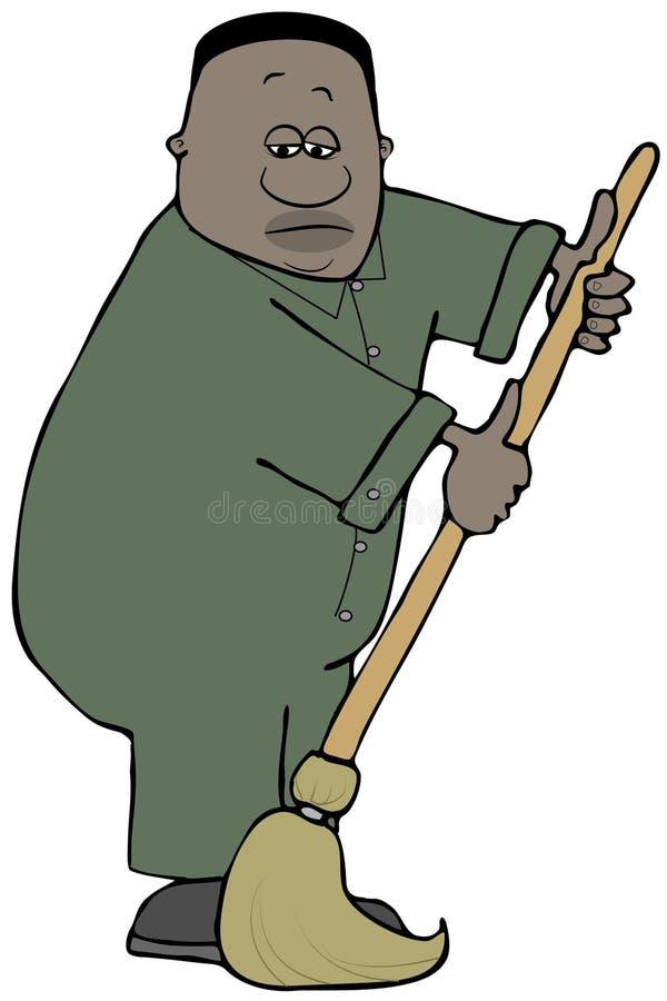 Lavoratore depresso che usando una zazzera illustrazione vettoriale