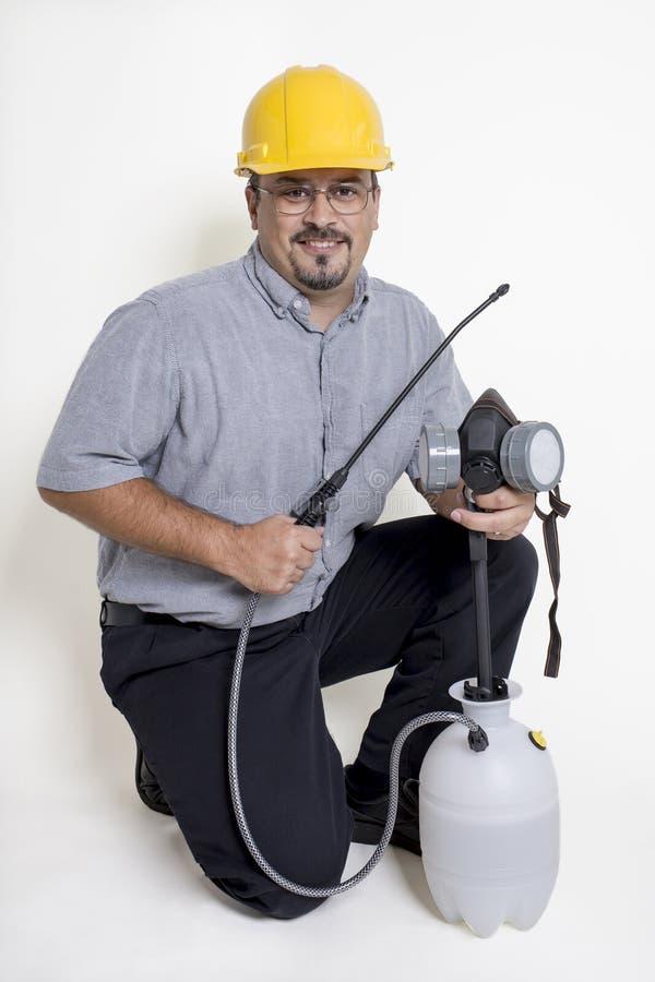 Lavoratore di controllo dei parassiti fotografia stock