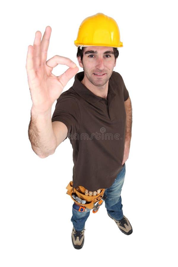 Lavoratore di costruzione soddisfatto fotografia stock libera da diritti
