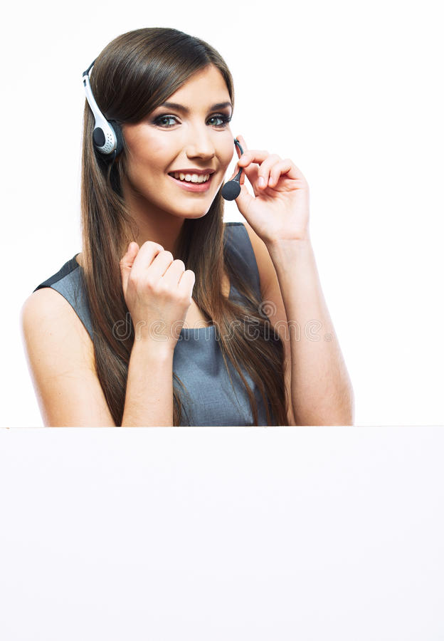 Lavoratore di servizio di assistenza al cliente della donna, wi sorridenti dell'operatore della call center fotografia stock libera da diritti