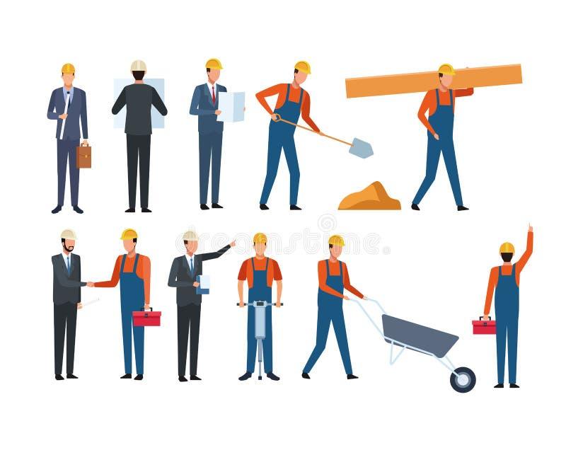 Lavoratore ed architetto dell'insieme della costruzione illustrazione di stock