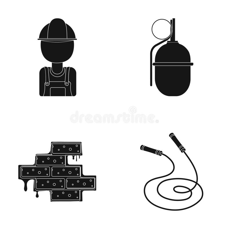 Lavoratore, granata e l'altra icona di web nello stile nero muratura, icone della corda nella raccolta dell'insieme illustrazione di stock