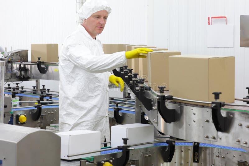 Lavoratore in grembiule, cappuccio alla linea di produzione in fabbrica fotografia stock