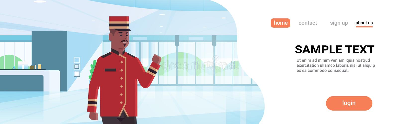 Lavoratore maschio dell'operatore d'appoggio in campana felice nel fumetto afroamericano interno di servizio degli esercizi alber illustrazione vettoriale