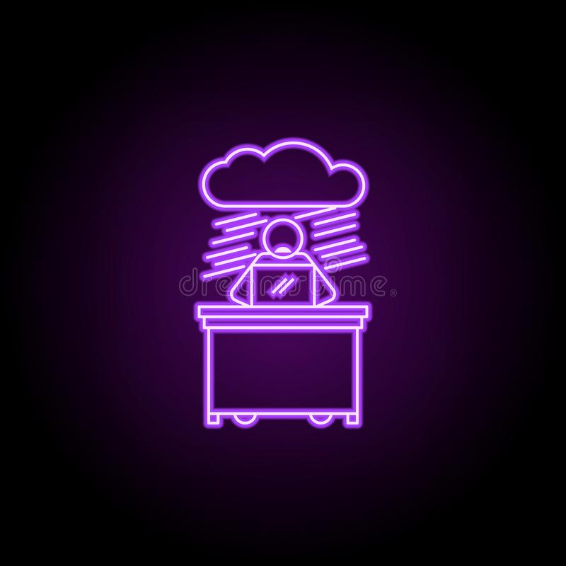 lavoratore in nessun'icona al neon di prospettiva Elementi della gente nell'insieme del lavoro E royalty illustrazione gratis