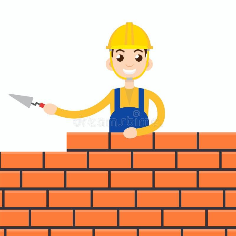 Lavoratore o muratura o scalpellino Illustrazione di vettore royalty illustrazione gratis
