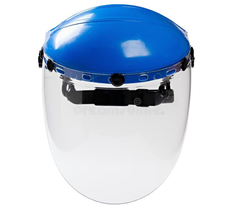 Lavoratore protettivo di plastica della maschera di protezione isolato su backgr bianco immagine stock