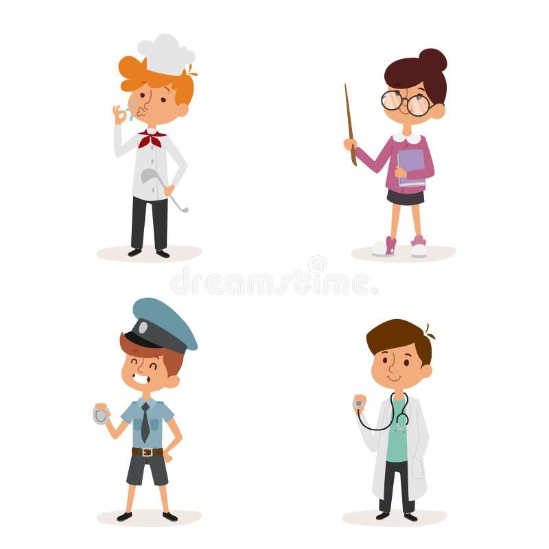 Lavoratore stabilito dell'uniforme dell'insegnante di medico del poliziotto del cuoco unico di infanzia della persona dell'illust illustrazione vettoriale