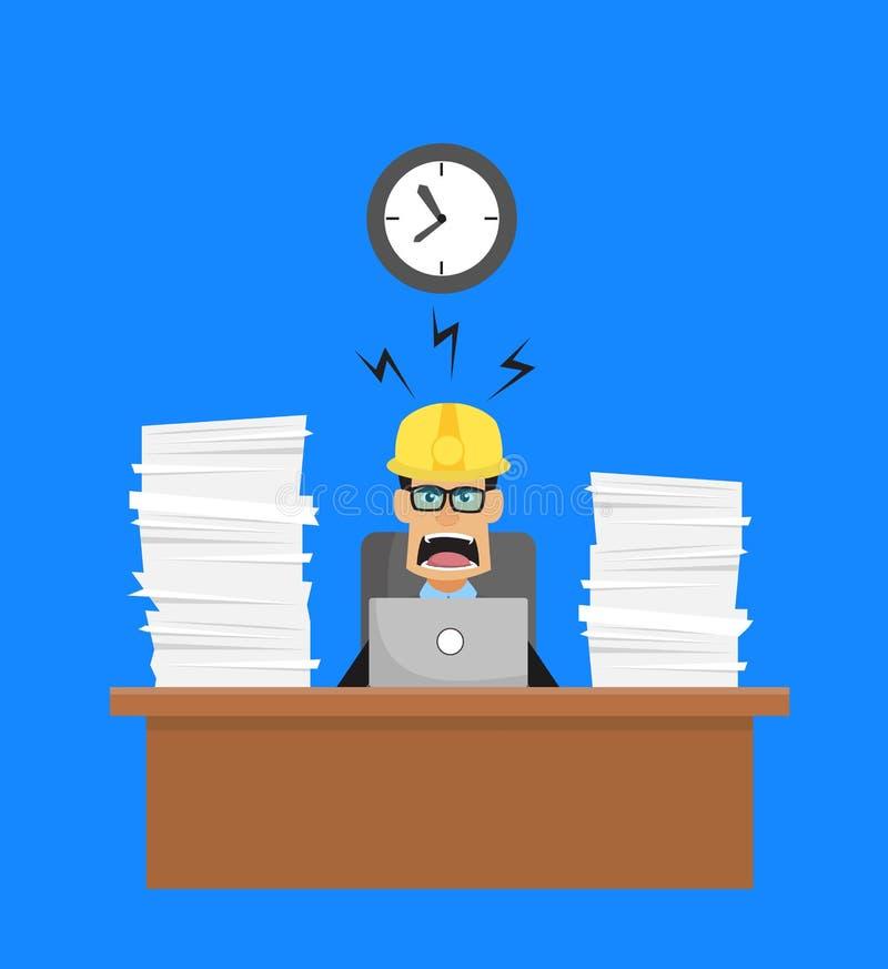Lavoratore tecnico - Frustrato dal lavoro di Office royalty illustrazione gratis