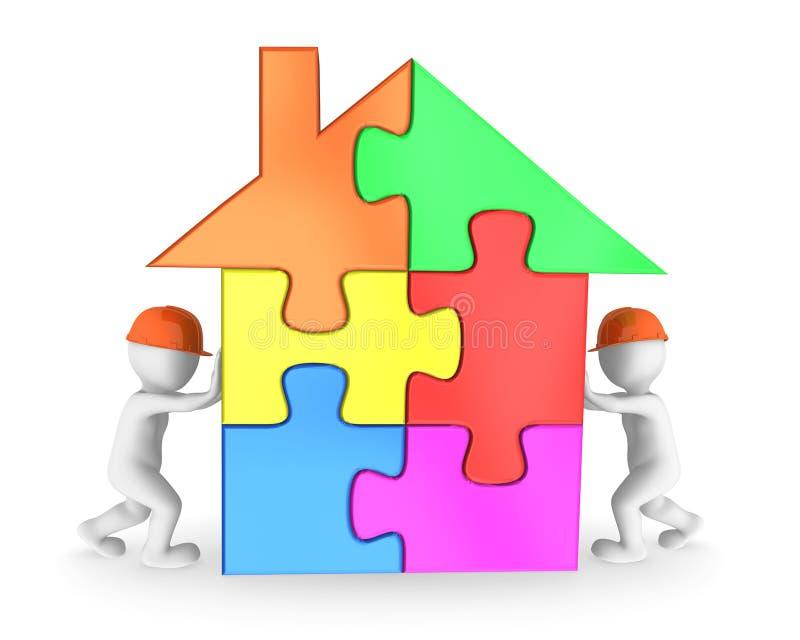 Lavoratori che finiscono il puzzle colorato della casa royalty illustrazione gratis